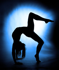 Arctic blue (Rune T) Tags: blue woman black silhouette contrast pose pattern dancer gymnast backlit limber