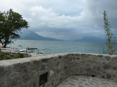 Sitting by lake Atitlan.