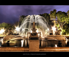 Hyde Park, Sydney :: HDR (:: Artie | Photography ::) Tags: park sculpture water fountain statue metal night clouds photoshop canon flow pond cs2 tripod sydney overcast australia wideangle spray hyde newsouthwales hydepark 1020mm archibaldfountain hdr artie archibald 3xp sigmalens photomatix tonemapping tonemap 400d rebelxti