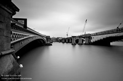 (Claire Hutton) Tags: road uk longexposure bridge blackandwhite bw building london water river scaffolding smooth railway wideangle cranes filter milky riverthames silky blackfriarsbridge sigma1020mm ndfilter neutraldensity 10stop nd1000 nd110 10stops bw110 leefilters nikond90 06ndgrad