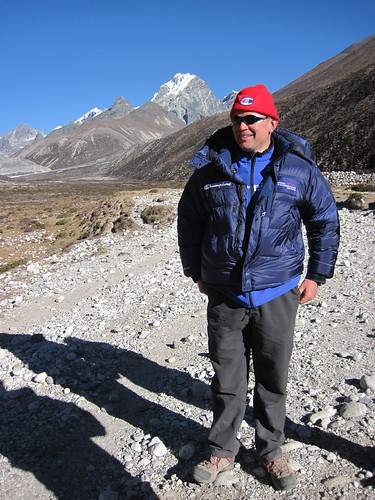 Mike, waiting for his chopper in Pheriche