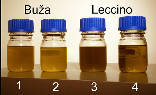The second and the fourth bottle contain the oils after centrifugation.
