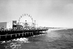 Santa Monica Pier (Photo Adventures) Tags: ocean california blackandwhite bw white black film wheel pier nikon santamonica ferris pacificocean ferriswheel santamonicapier negativescan santamonicaca 5photosaday