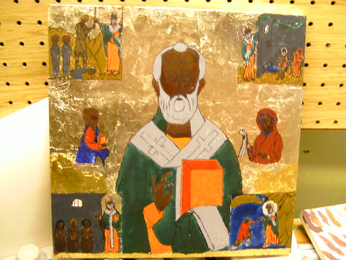 Icon of St. Nicholas, painted outline and detials