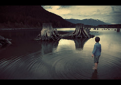 Conversation with dead giants (sparth) Tags: seattle trees mountain lake reflection water washington kid child son barefoot giants trunks rattlesnake 24105l 5dmkii deadgiants