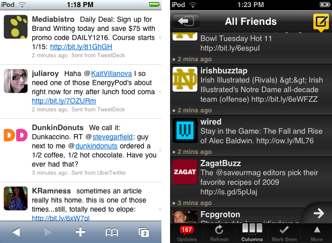 A side by look at two mobile Twitter clients: Hahalo, at left, is web based while TweetDeck is a native app.