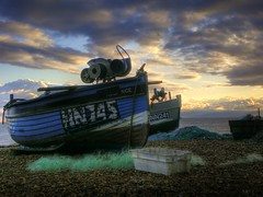 Eastbourne Fishing Boats (Phil-Clements) Tags: sea sky clouds boats sussex boat fishing eastbourne nets hdr photomatix inthemood
