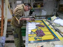 P1030580 (dealkmaarseglazenier) Tags: art glass studio stained restoration nouveau glas atelier jugendstil restauratie lood  bleiverglasung glasatelier alkmaarseglazenier glazenier