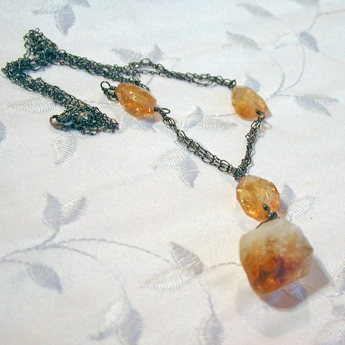 Citrine necklace, after antique-ing