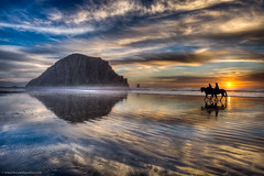 Horses walk on water in Morro Bay! (howardignatius) Tags: ocean california houses sunset sky reflection beach water clouds nikon surf morrobay morrorock hdr riders morrostrand