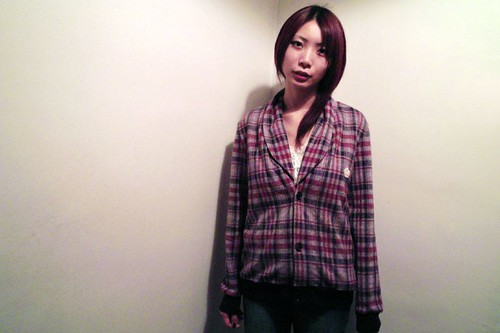 Naoko - QOS Red x Navy lapel Cardigan