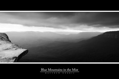 Blue Mountains in the Mist (M Norris) Tags: blue bw panorama mist mountains green fog clouds contrast haze rocks bluemountains hills valley lanscape cokin sunsetrock glamourglow cokin121m silverefex