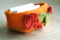 orange wool felt card holder...clean up your workspace!