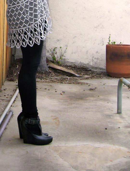 velvet angels wedge bootie -shoes legs