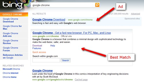 Google Chrome Ad On Bing