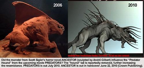 Robert Rodriguez's Predator Hound from PREDATORS influenced by Scott Sigler's ANCESTOR?