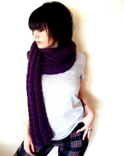 softspoken chunky rib knit scarf