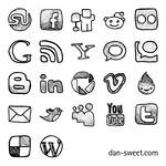 Hand-drawn social icons 64x64 thumbnail
