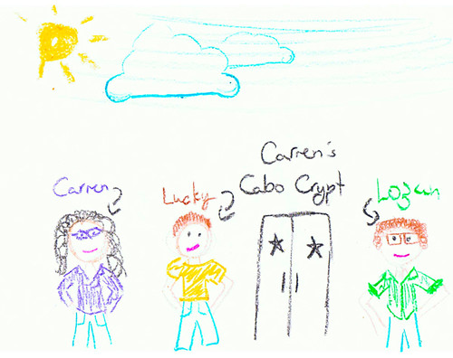Logan's Drawing of Carmen & Lucky