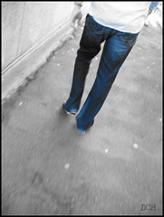 Blue Jeans (suavehouse113) Tags: blue blackandwhite walking legs phil sydney australia jeans newsouthwales bluejeans harbourbridge sydneyharbourbridge philscamera selectivecolor bridgewalk coloraccent pedestrianwalkway