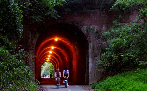 avid cyclists exit the Dalecarlia tunnel on the Capital Crescent Trail (by. M.V. Jantzen, creative commons license)