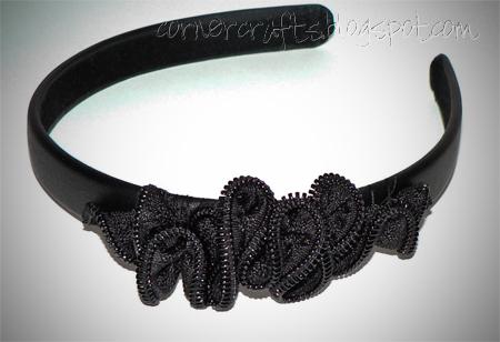 zipper ruffle headband