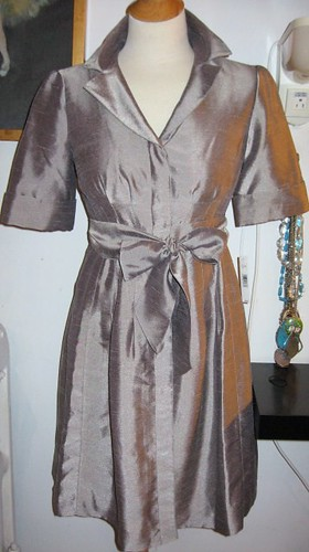 Brand new button down Short sleeve silver/gray dress