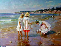 Alexander Averin - Russian artist  - Girls By The Sea (oldsailro) Tags: park old boy sea summer people sun lake playing beach water pool girl sunshine youth sailboat race vintage children fun toy boat miniature wooden pond model artist waves sailing ship child time yacht antique group boom mat regatta alexander hull spectators russian watercraft adolescence keel fashioned averin