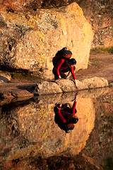 Gazing - Pinnacles Reservoir Reflection (Amicus Telemarkorum) Tags: california reflection water rock self mirror rocks image hiking clear watersedge pinnaclesnationalmonument jenniferchang rockclimber hiketrail
