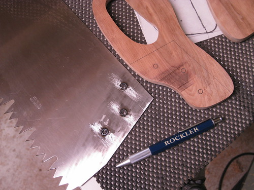 blade with holes drilled for new handle