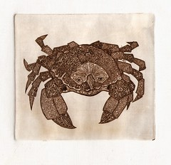 - 001 (tim.spb) Tags: original etching postcard small crab ornament plates desigh     aquafortis