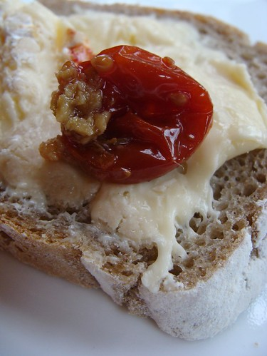 Photograph by Kirsty Hall of bread, cheese and sun-dried tomato