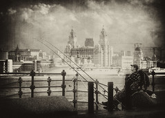 Liverpool.. (jetbluestone) Tags: building texture sepia liverpool fishing liver mersey angler