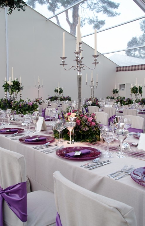 88 Events designs a Wedding at Boat of Garten - White Essential Chair Covers, Silver Candelabra and Purple Charger Plates