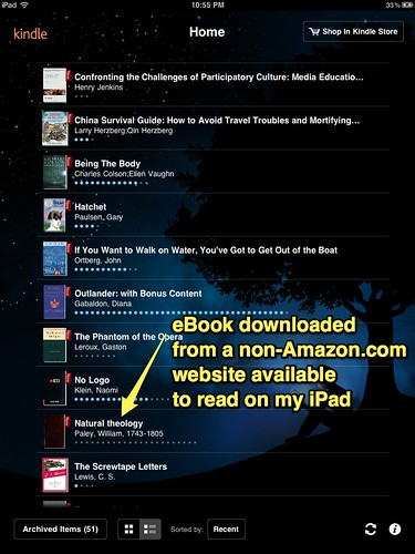 Downloaded book available to read on Kindle for iPad