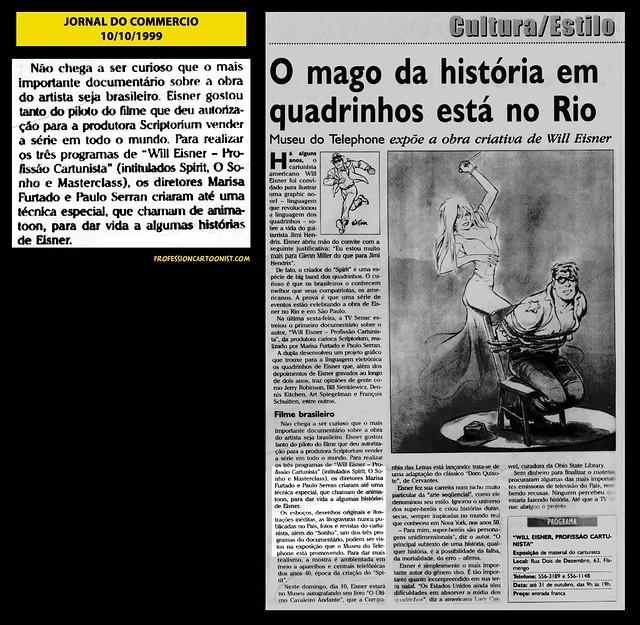 """""""O mago da história em quadrinhos está no Rio"""" - Jornal do Commercio - 10/10/1999"""