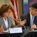 US Senator Kay Hagan (left) welcomes everyone to NC State.