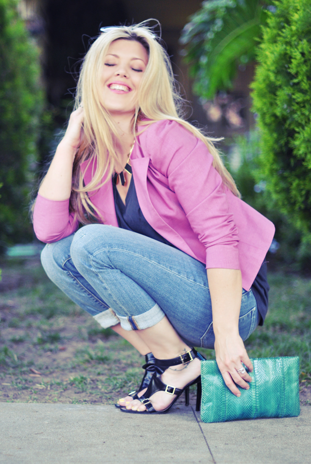 jeans and pink blazer  - house of harlow necklace, outfit, fashion blogger, style