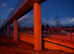Urban Angle (JasonCameron) Tags: architecture overpass walkway urban city red orange blue twilight evening dusk warm cool cold cement concrete