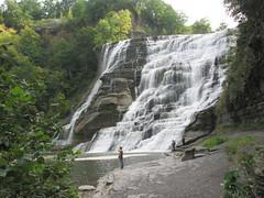 Fishing at the base of Ithaca Falls and gorge, Ithaca NY 2291 (bobistraveling) Tags: ny ithaca fingerlakes