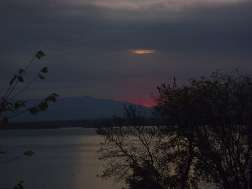 pink on the horizon before sunrise