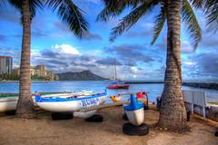 The boats of Waikiki (nikuman) Tags: travel blue vacation 20d beach sailboat canon catchycolors hawaii hotel boat sand kayak waikiki jetty hilton palm diamondhead
