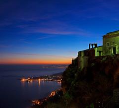 Panorama from Taormina Castle - Sicily (Giuseppe Finocchiaro) Tags: blue sunset night nikon tramonto blu sicily taormina notte sicilia giardini abigfave