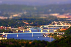 Downtown Chattanooga Tennessee River (Pheno Me Non) Tags: bridge chattanooga miniature nikon tennessee bridges tennesseeriver tiltshift d90 tiltshiftfake
