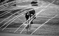 Water Cycle (Ian Sane) Tags: park white black water fountain bicycle tom oregon canon portland ian eos downtown mark tunnel front ii cycle 5d streams rider sane mccall ankeny