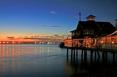 Seaport Village (Victor Hernandez Photography) Tags: ocean california sunset shadow sky house reflection water cali canon rebel lights harbor village sandiego southern seaport xti mywinners