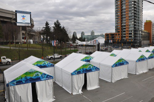 The tents are going up!