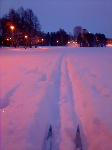 Cross-country skiing in deep snow