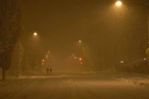 midnight, blizzard conditions
