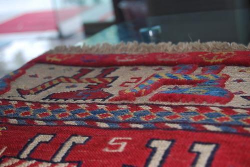 close view of high/low pile soumak rug